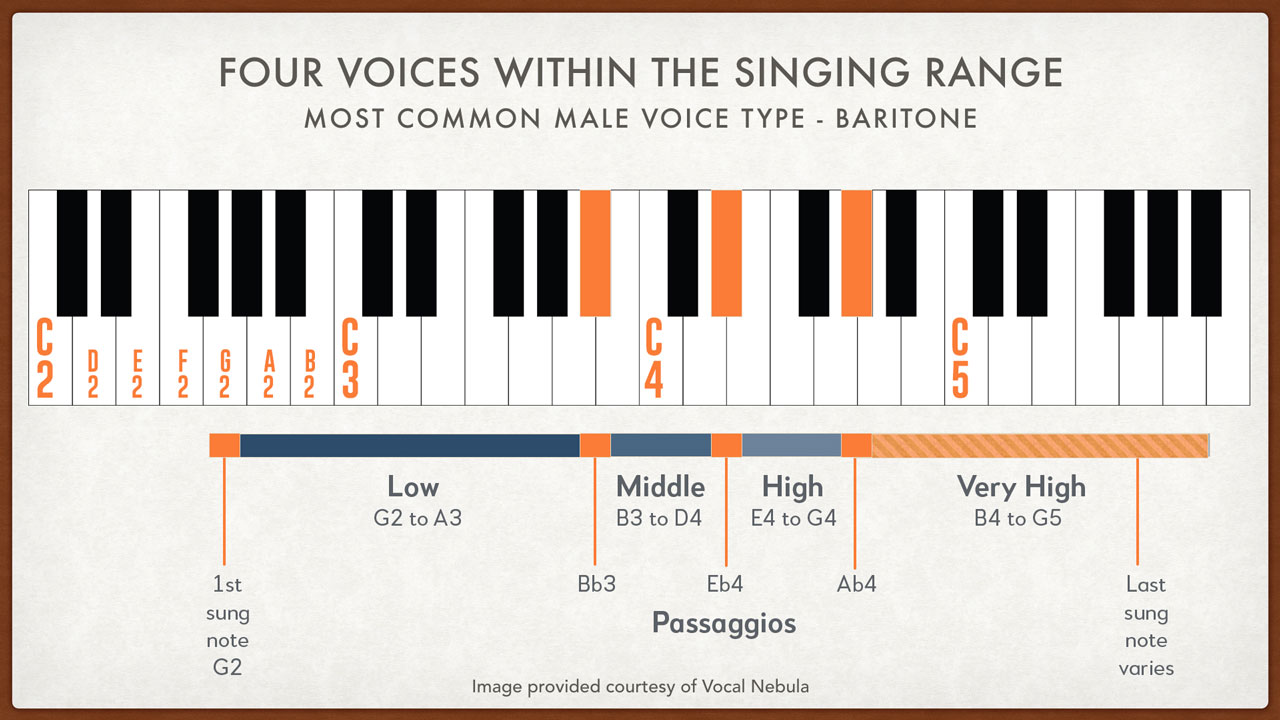 Four Vocal Ranges of the Male Singing Voice